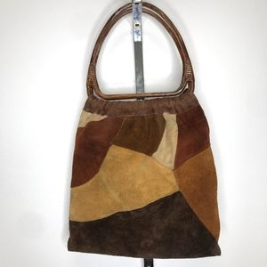 VINTAGE Suede Leather Patchwork Hobo Tote Bag